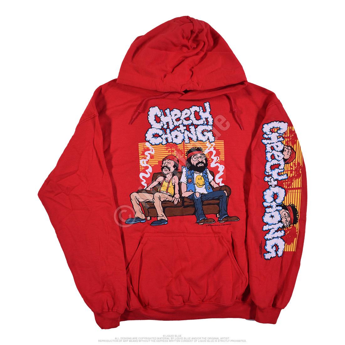 Couch Locked Red Sleeve Printed Hoodie