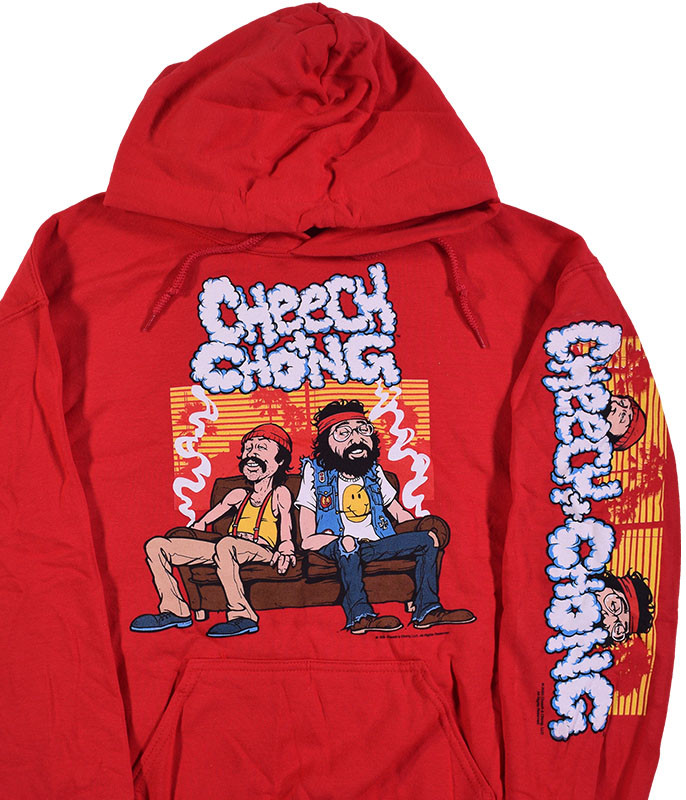 Cheech and Chong Couch Locked Red Sleeve Printed Hoodie Liquid Blue