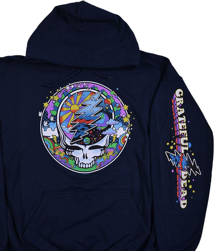 Mod Max SYFace Navy Sleeve Printed Hoodie