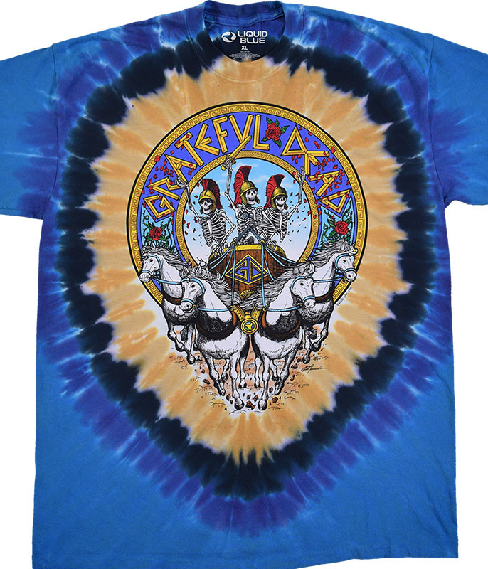 Grateful Dead Chariot Tie-Dye T-Shirt Tee Liquid Blue