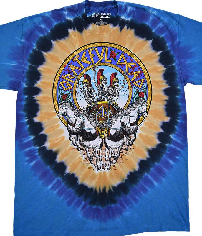 Grateful Dead Chariot Tie-Dye T-Shirt Tee Liquid Blue