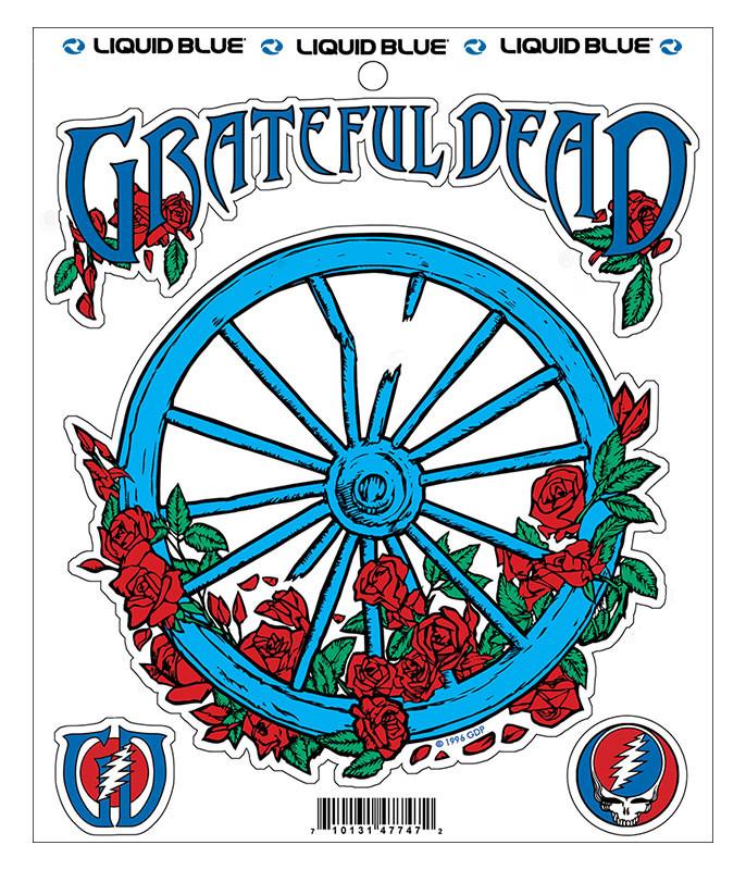 Grateful Dead Wheel and Roses Multi Sticker Liquid Blue