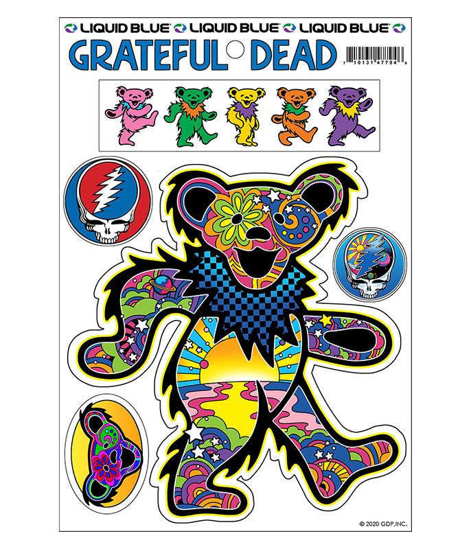Grateful Dead Mod Bear Multi Sticker Liquid Blue