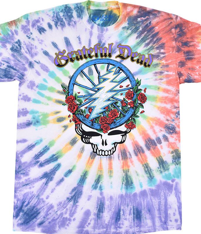 Grateful Dead Steal Your Wheel Tie-Dye T-Shirt Tee Liquid Blue