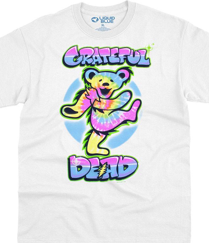 Grateful Dead Carnival Bear White T-Shirt Tee Liquid Blue
