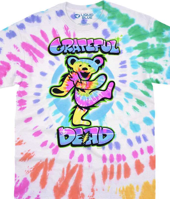 Grateful Dead Carnival Bear Tie-Dye T-Shirt Tee Liquid Blue