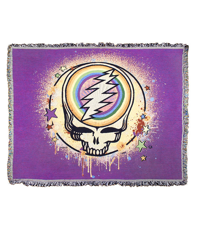 Grateful Dead GD Rainbow Splatter Purple Woven Blanket