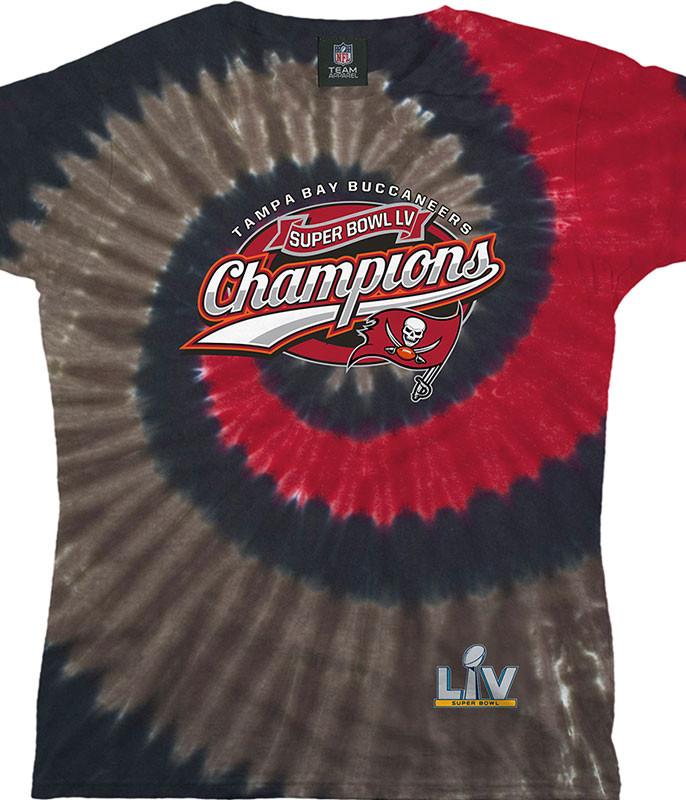 Tampa Bay Buccaneers Super Bowl LV Champions Womens Tie-Dye Long Length T-Shirt
