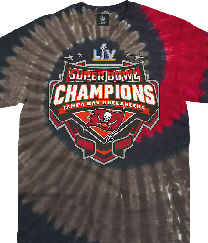Tampa Bay Buccaneers Super Bowl LV Champions Tie-Dye T-Shirt