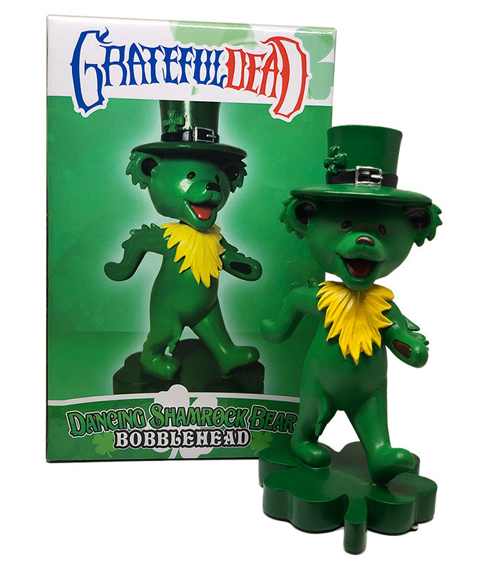 Grateful Dead Bobblehead Dancing Shamrock Bear Green