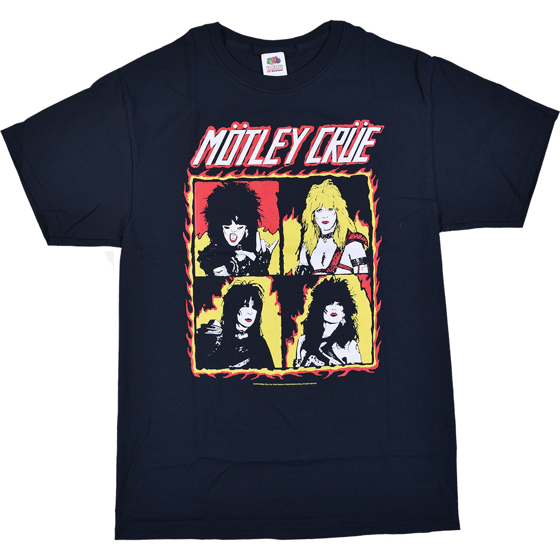 Motley Crue Fire Group Black T-Shirt