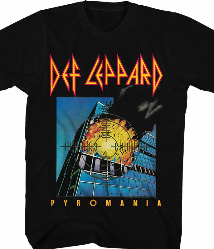 Def Leppard Pyromania Black T-Shirt Tee
