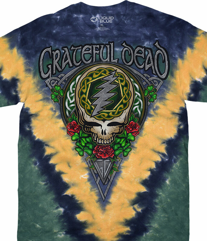 Grateful Dead GD Shamrock SYF Tie-Dye T-Shirt Tee Liquid Blue