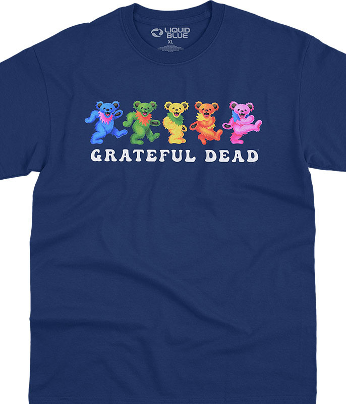 Grateful Dead Dancing Bears 3.0 Navy T-Shirt Tee Liquid Blue
