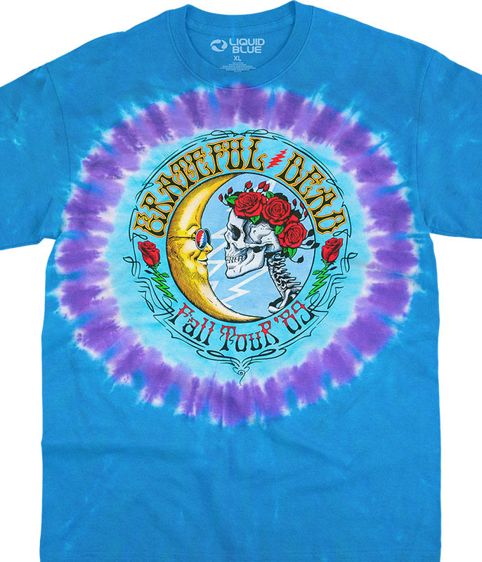 Grateful Dead Lunar Dead Tie-Dye T-Shirt Tee Liquid Blue