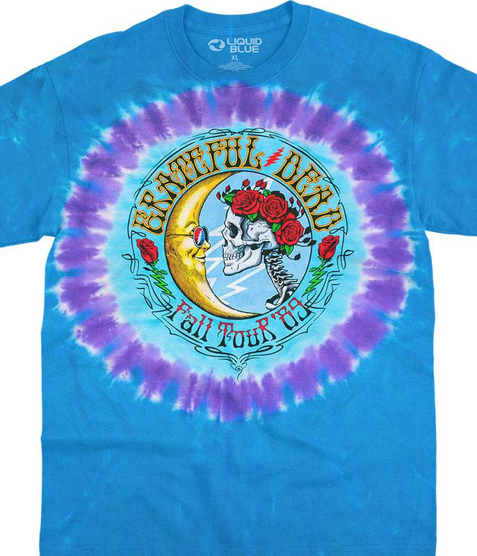 Grateful Dead Lunar Dead Tie-Dye T-Shirt Tee Liquid Blue