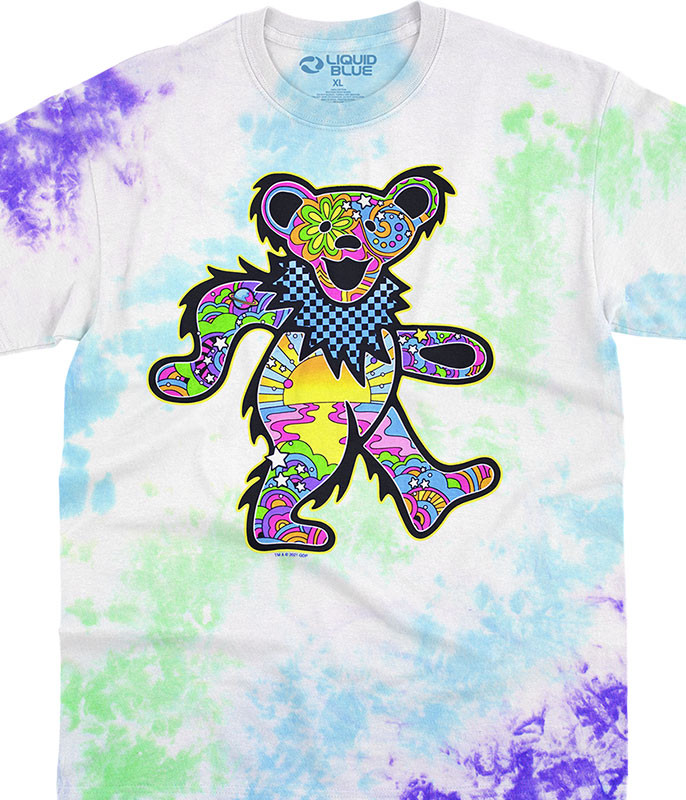 Grateful Dead Mod Bear Tie-Dye T-Shirt Tee Liquid Blue