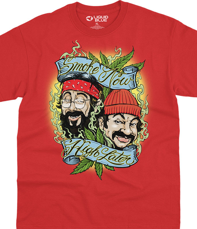 Cheech and Chong Smoke Now High Later Red T-Shirt Tee Liquid Blue