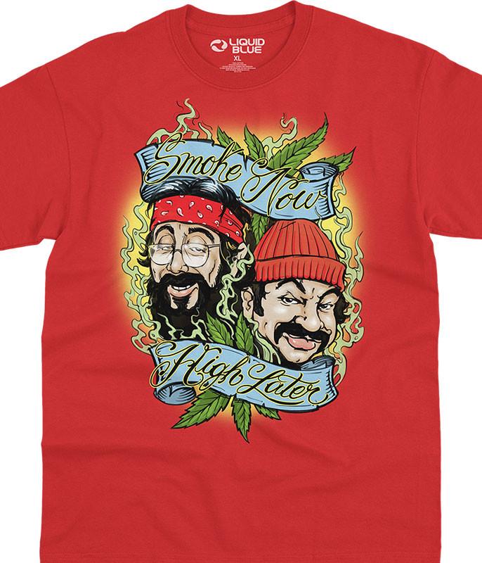 Cheech and Chong Smoke Now High Later Red T-Shirt Tee Liquid Blue