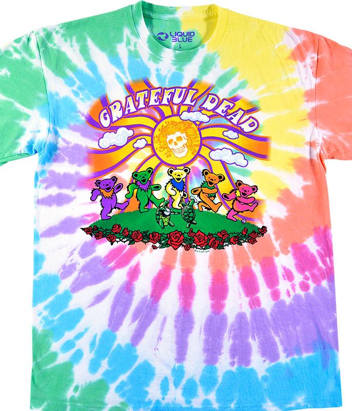 Grateful Dead Sunshine Bears Tie-Dye T-Shirt Tee Liquid Blue