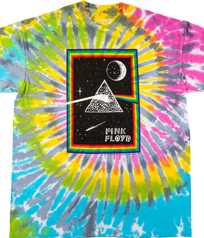 Pink Floyd Prism Moon Tie-Dye T-Shirt Tee Liquid Blue