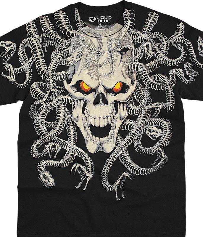 Skulls Medusa Black T-Shirt Tee Liquid Blue