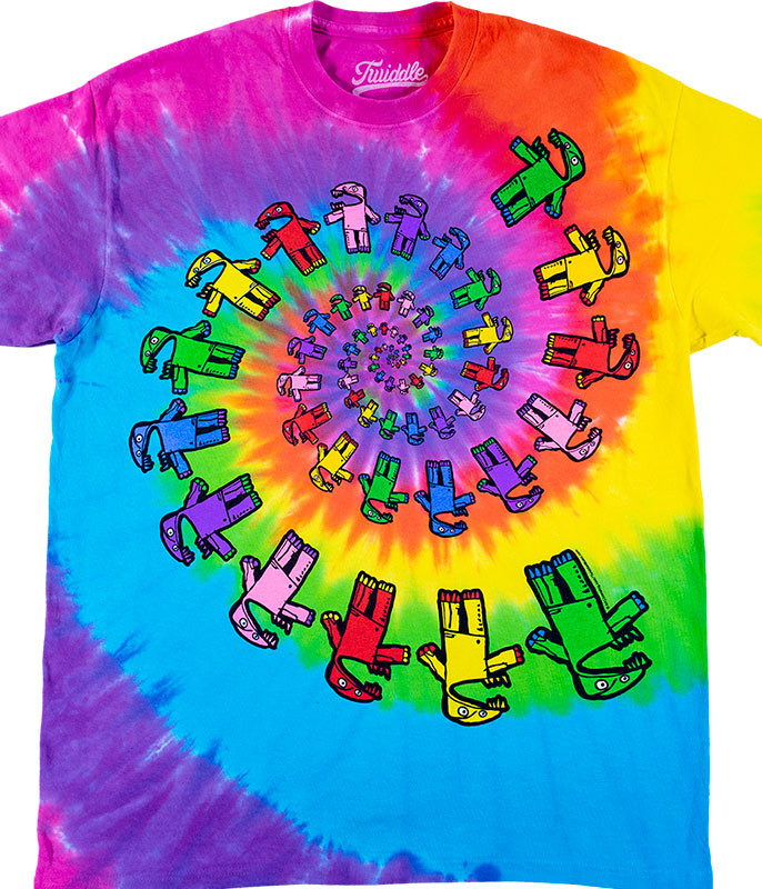Twiddle Spiral Tie-Dye T-Shirt Tee Liquid Blue