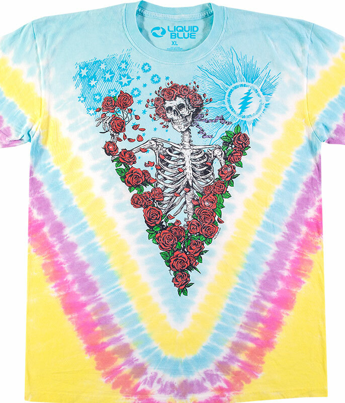 Grateful Dead Rose Garden Tie-Dye T-Shirt Tee Liquid Blue