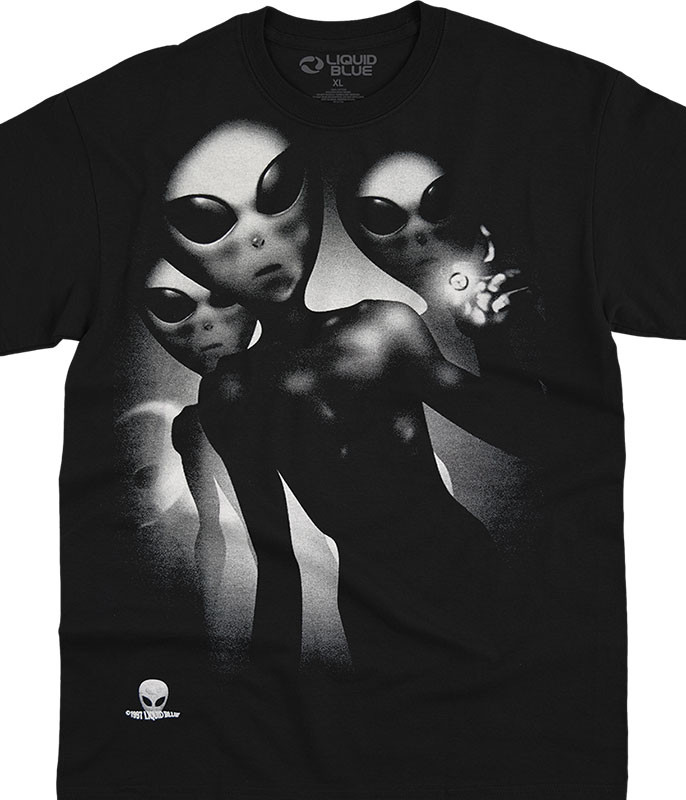 Space Alien Visitors Black T-Shirt Tee Liquid Blue