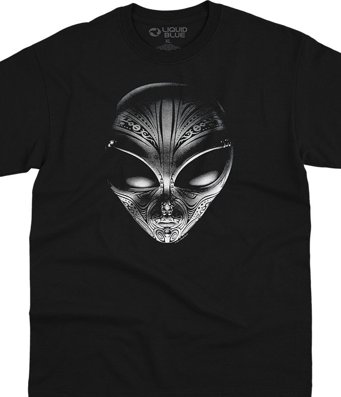Space Tribal Alien Black T-Shirt Tee Liquid Blue