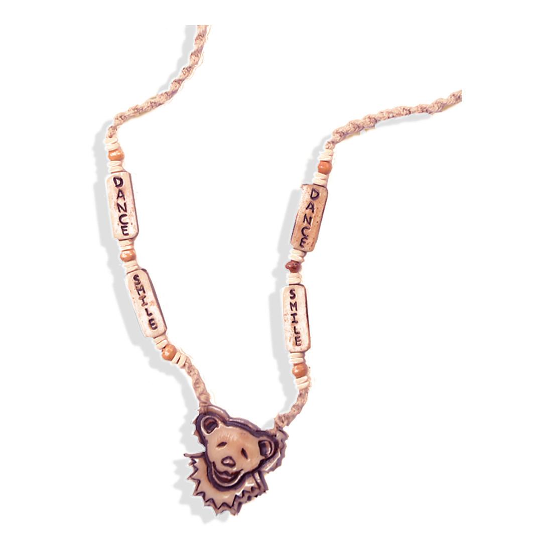 Bear Face and Smile Dance Bone Bead Hemp Necklace