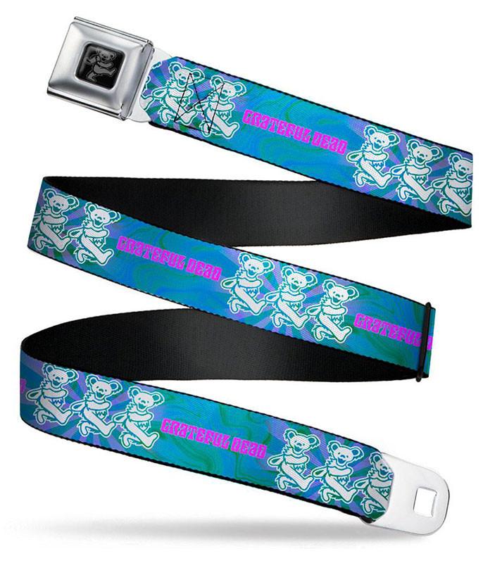 Grateful Dead Dancing Bear Trio Seatbelt Belt Blue