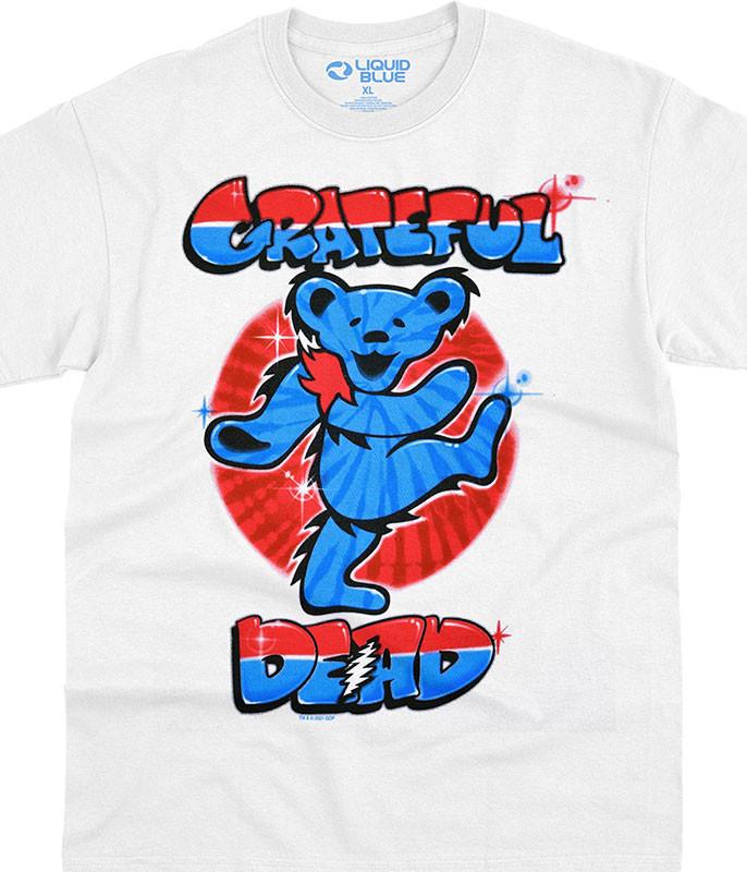 Grateful Dead Independance Bear White T-Shirt Tee Liquid Blue