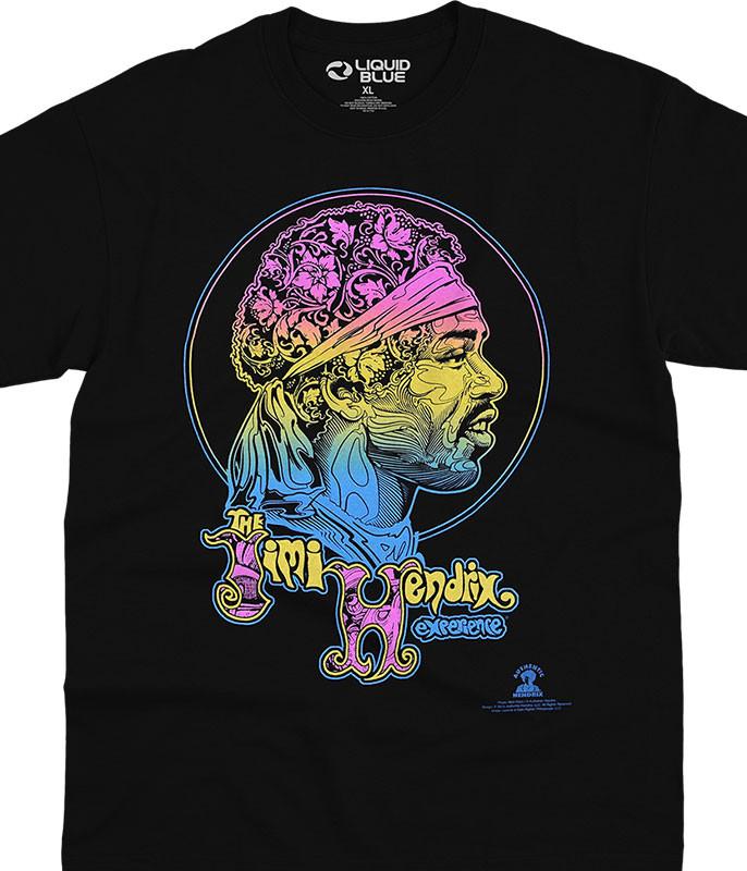 Jimi Hendrix Little Wing Black T-Shirt Tee Liquid Blue