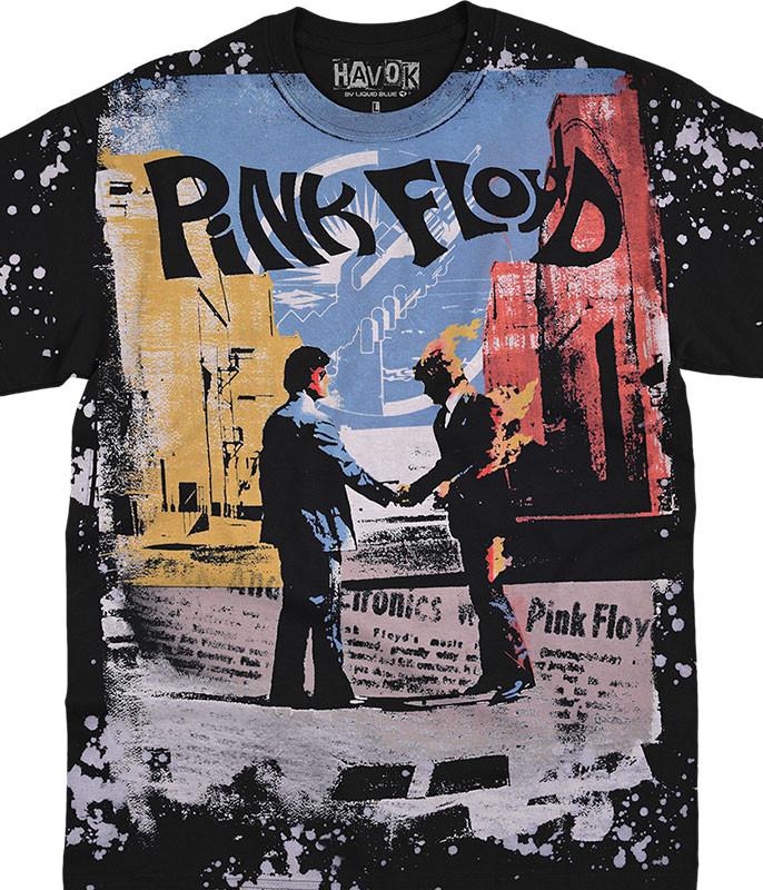 Pink Floyd Wish You Were Here Havok Black T-Shirt Tee Liquid Blue