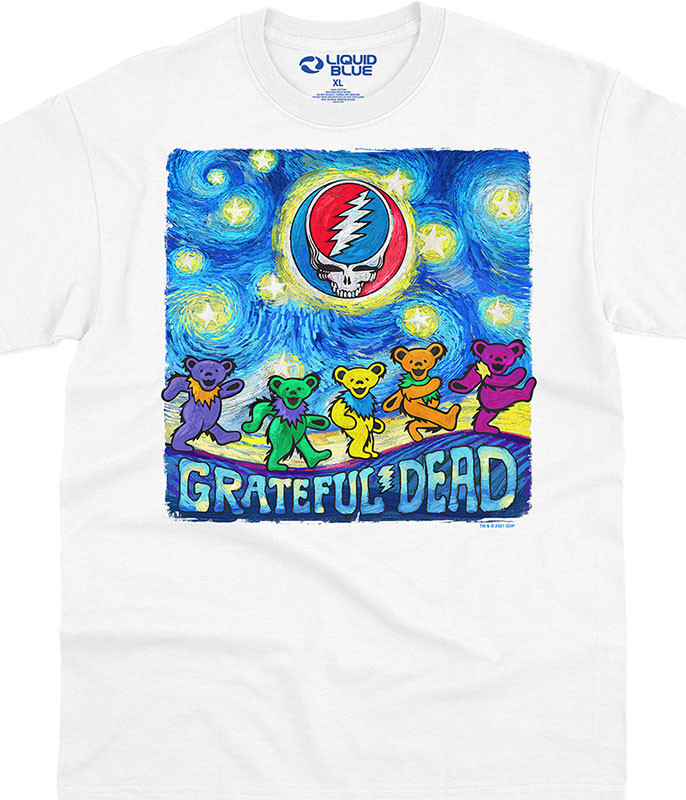 Grateful Dead Starry Bears White T-Shirt Tee Liquid Blue