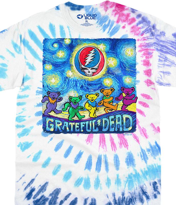 Grateful Dead Starry Bears Tie-Dye T-Shirt Tee Liquid Blue