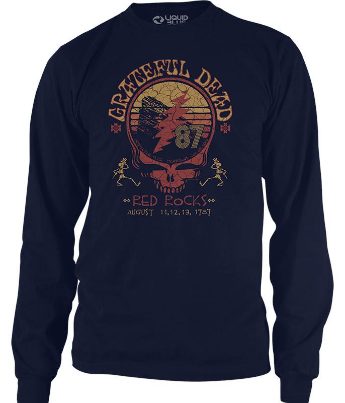 Grateful Dead Red Rocks 87 Navy Long Sleeve T-Shirt Tee