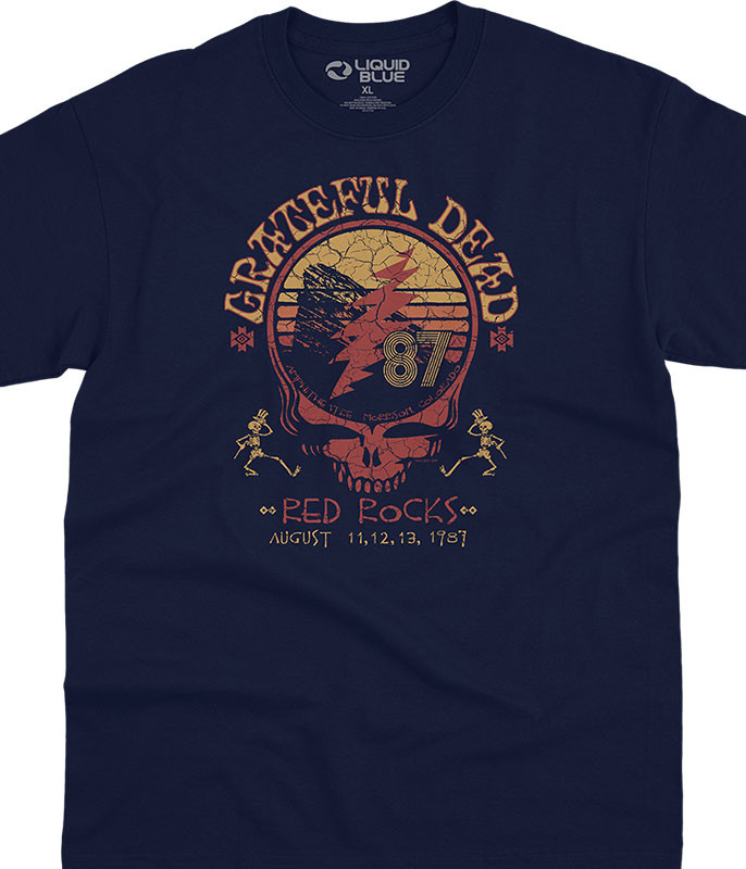 Grateful Dead Red Rocks 87 Navy T-Shirt Tee Liquid Blue
