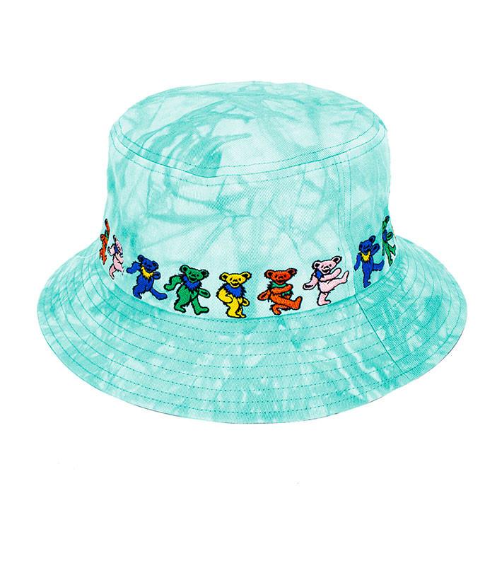 Dancin Bear Tie-Dye Green Bucket Hat
