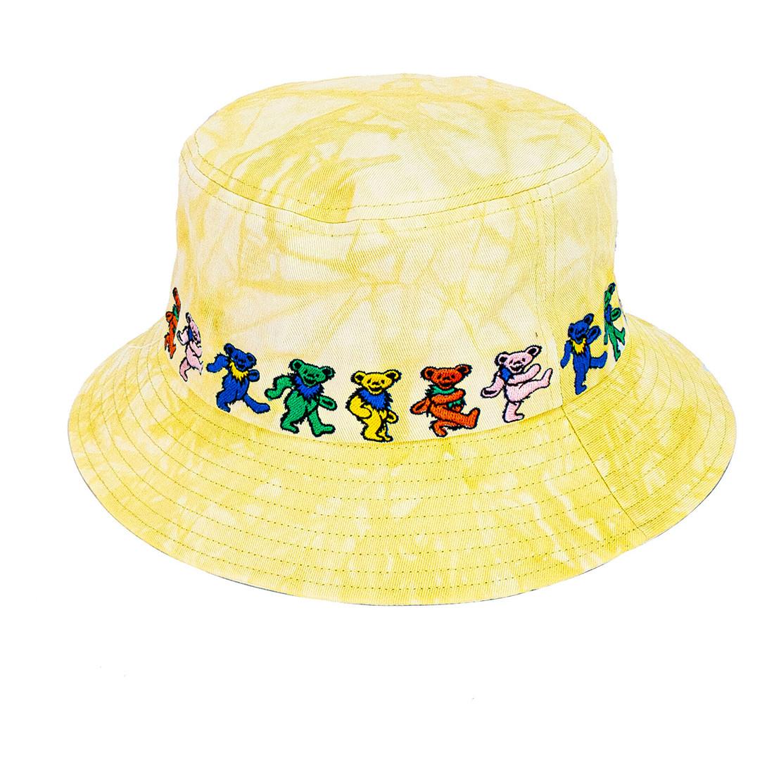 Dancin Bear Tie-Dye Yellow Bucket Hat