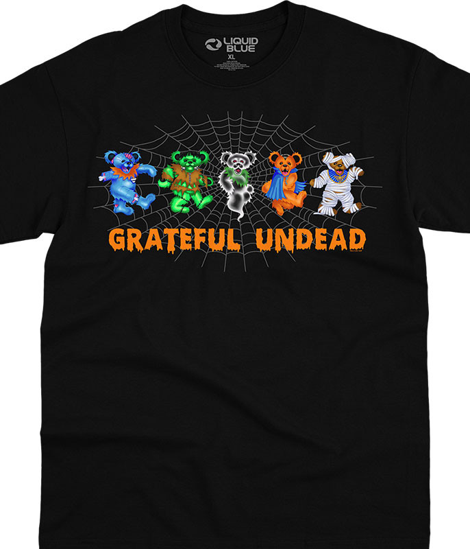 Grateful Dead Undead Bears Black T-Shirt Tee Liquid Blue