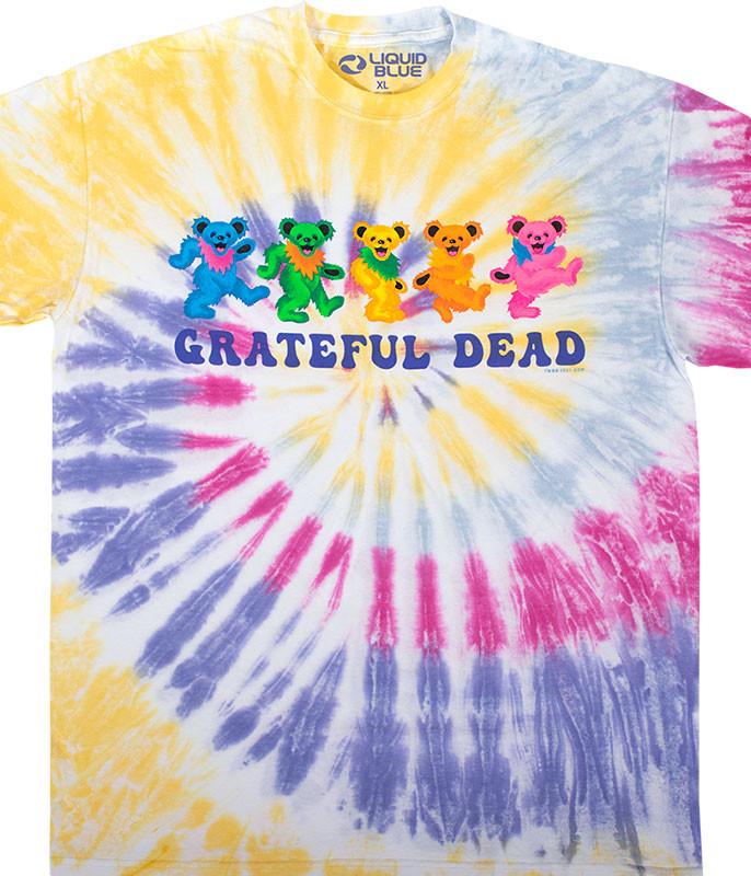 Grateful Dead Dancin Bears 3.0 Tie-Dye T-Shirt Tee Liquid Blue