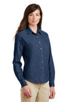 Port & Company - Ladies Long Sleeve Value Denim Shirt.  LSP10