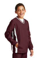 Sport-Tek Youth Tipped V-Neck Raglan Wind Shirt. YST62