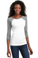 District - Juniors 50/50 3/4-Sleeve Raglan Tee. DT228