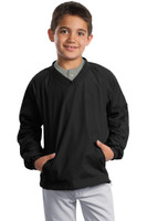 Sport-Tek Youth V-Neck Raglan Wind Shirt. YST72