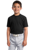 DISCONTINUED Sport-Tek Youth Short Sleeve Henley. YT210