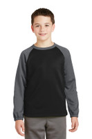 Sport-Tek Youth Sport-Wick Raglan Colorblock Fleece Crewneck. YST242