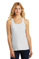 District Made Ladies Solid Gathered Racerback Tank. DM420